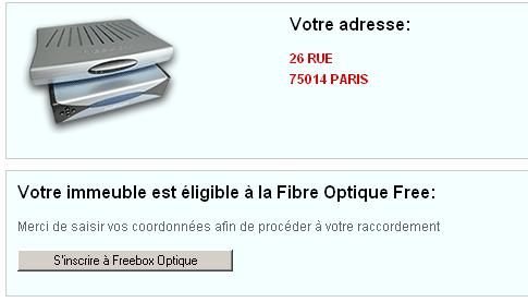 Test d\'éligibilité Fibre Optique Free